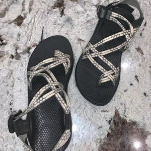Grey and white strappy Chacos!